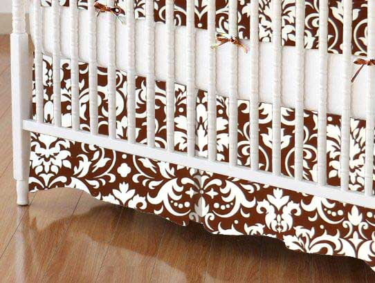Crib Skirt - Brown Damask