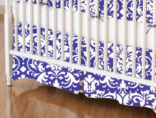 Crib Skirt - Purple Damask