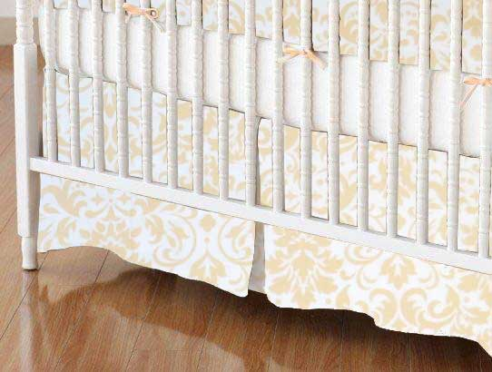 Crib Skirt - Cream Damask