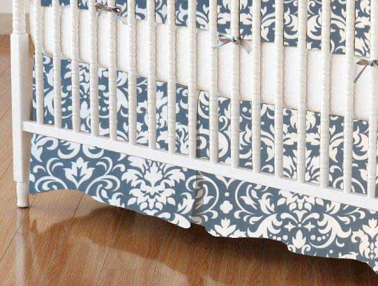 Crib Skirt - Grey Damask
