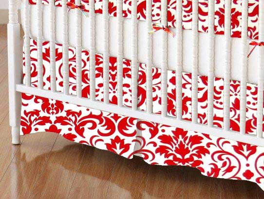 Crib Skirt - Red Damask