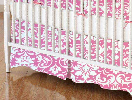 Crib Skirt - Pink Damask