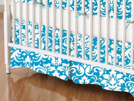 Mini Crib Skirt - Turquoise Damask