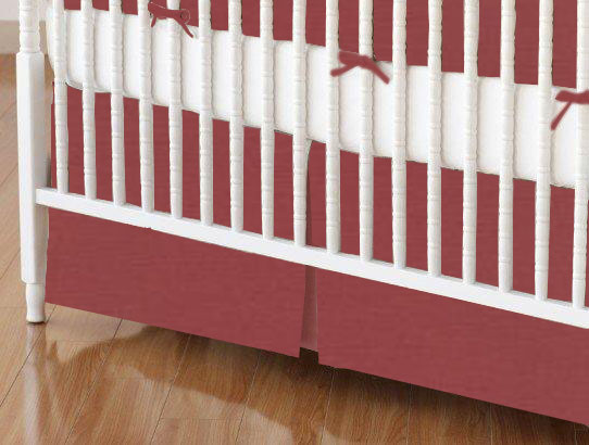Crib Skirt - Solid Burgundy Woven