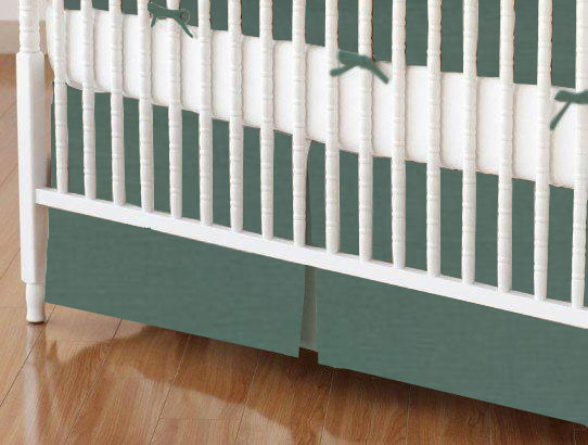 Crib Skirt - Hunter Green Woven