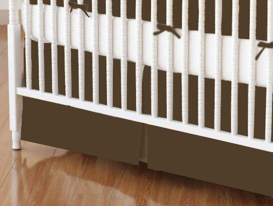 Crib Skirt - Solid Brown Woven