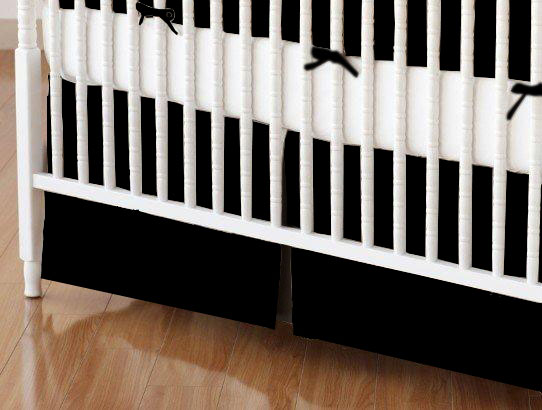 Crib Skirt - Solid Black Woven
