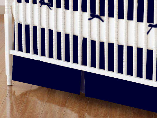 Crib Skirt - Solid Navy Woven