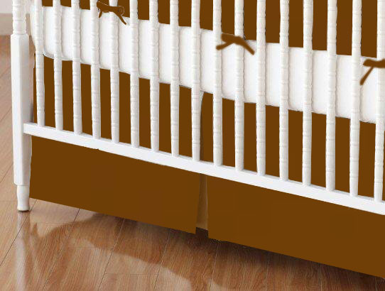 Crib Skirt - Solid Rust Woven