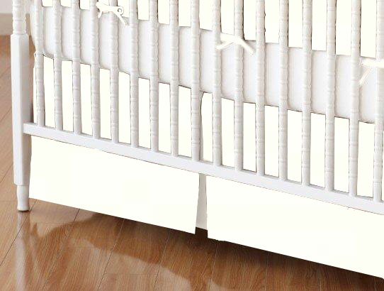 Mini Crib Skirt - Solid Ivory Woven