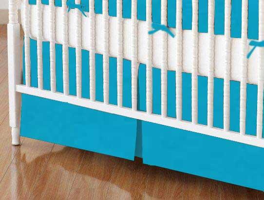 Crib Skirt - Turquoise Woven