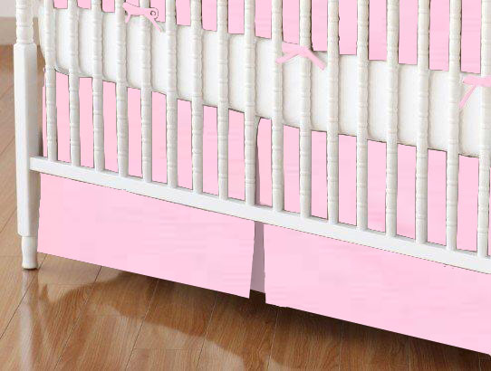 Crib Skirt - Solid Bubble Gum Pink Woven
