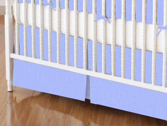 Crib Skirt - Solid Blue Woven