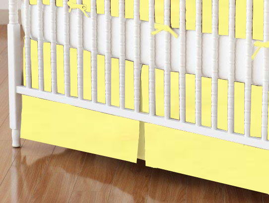 Crib Skirt - Solid Yellow Woven