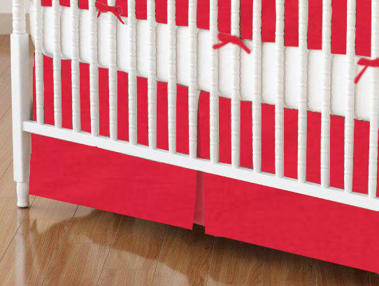 Crib Skirt - Solid Red Woven
