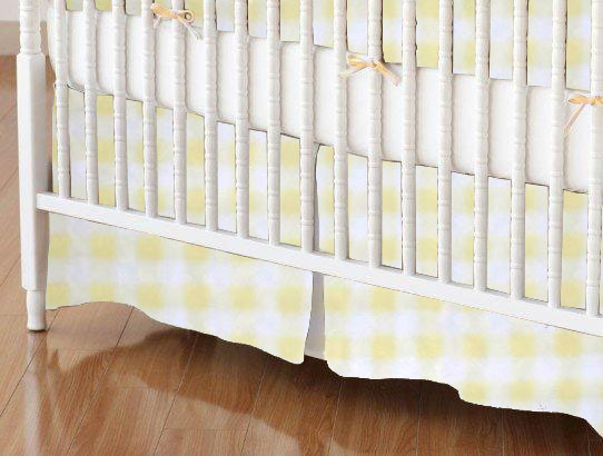 Mini Crib Skirts - Mini Crib Skirt - Yellow Gingham Jersey - Tailored - 100% Cotton Jersey Knit - Soft Prints Mini Crib Skirts