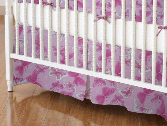 Mini Crib Skirt - Pink & White Butterflies