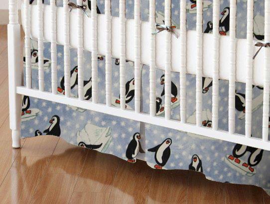 Crib Skirt - Frosty Penguins