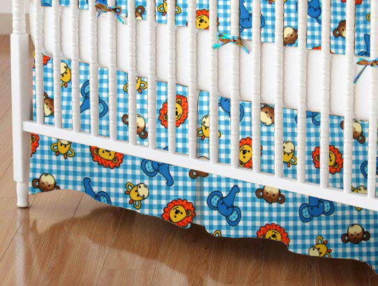 Mini Crib Skirt - Safari Animals Blue Check