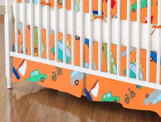 Mini Crib Skirt - Vehicles Orange