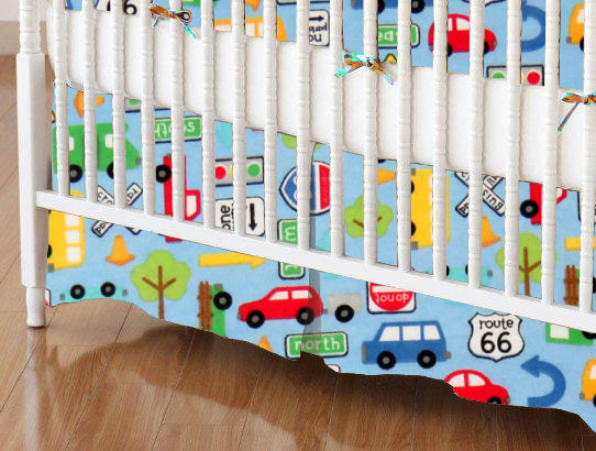 Mini Crib Skirt - Traffic Vehicles Blue