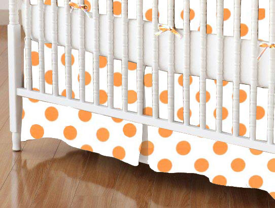 Crib Skirt - Neon Orange Polka Dots