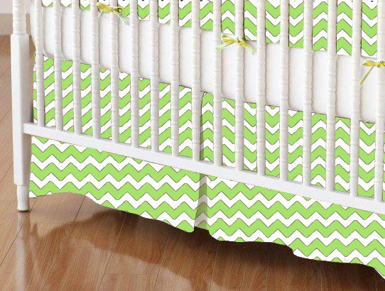 Mini Crib Skirt - Lime Chevron Zigzag