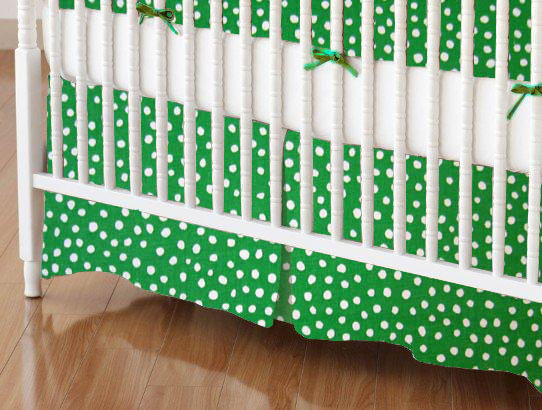 Crib Skirt - Forest Green Fun Dots 28x52