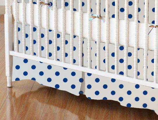 Crib Skirt - Royal Blue Polka Dots