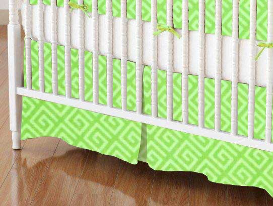 Crib Skirt - Geo Green