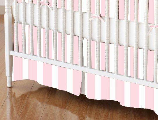 Crib Skirt - Pastel Pink Stripe Woven