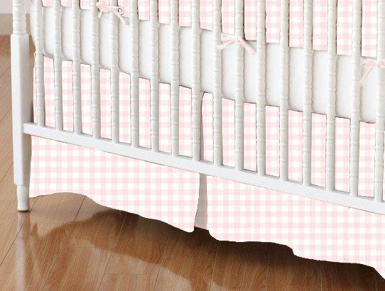 Crib Skirt - Pastel Pink Gingham Woven
