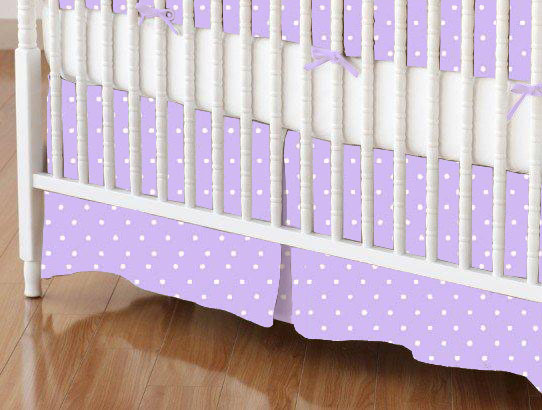 Crib Skirt - Pastel Lavender Pindots Woven