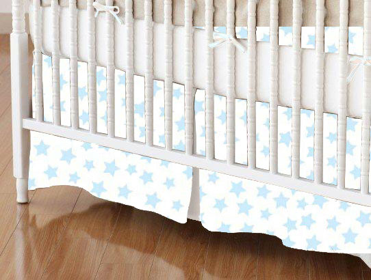 Mini Crib Skirt - Pastel Blue Stars Woven