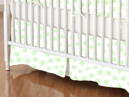Mini Crib Skirt - Pastel Green Stars Woven