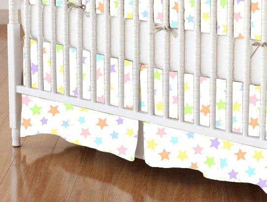 Crib Skirt - Pastel Colorful Stars Woven
