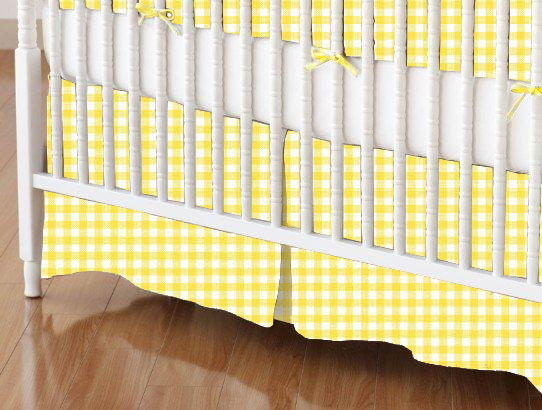 Mini Crib Skirt - Primary Yellow Gingham Woven