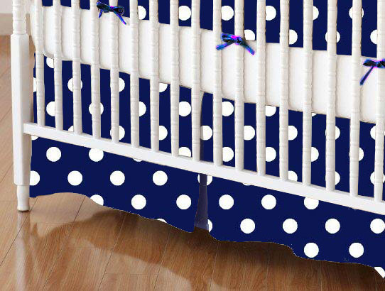 Mini Crib Skirt - Primary Polka Dots Navy Woven