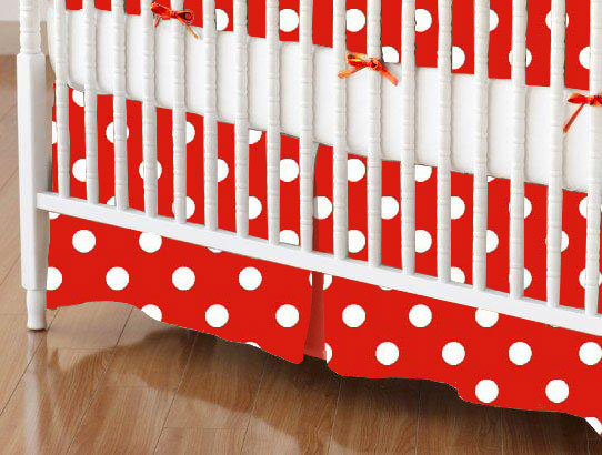 Mini Crib Skirt - Primary Polka Dots Red Woven