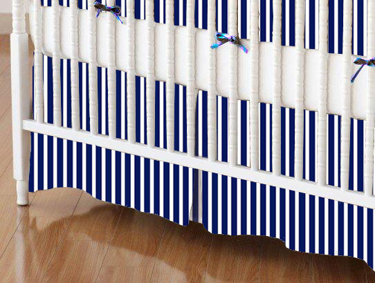 Mini Crib Skirt - Primary Navy Stripe Woven