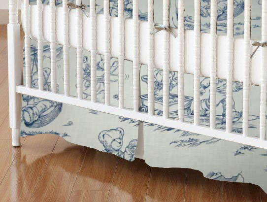 Crib Skirt - Blue Teddy Toile