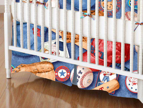 Mini Crib Skirt - Baseball Bear