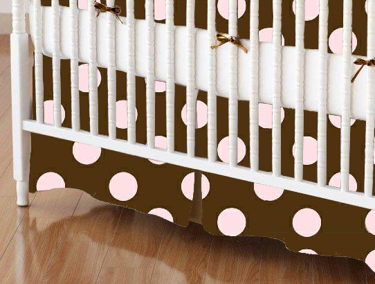Crib Skirt - Pink Polka Dots Brown Woven
