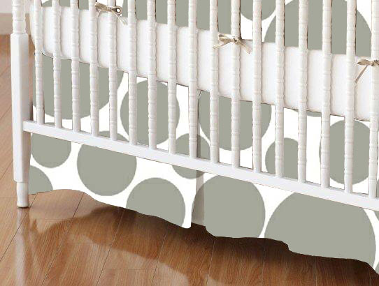 Mini Crib Skirt - Grey On White Dots