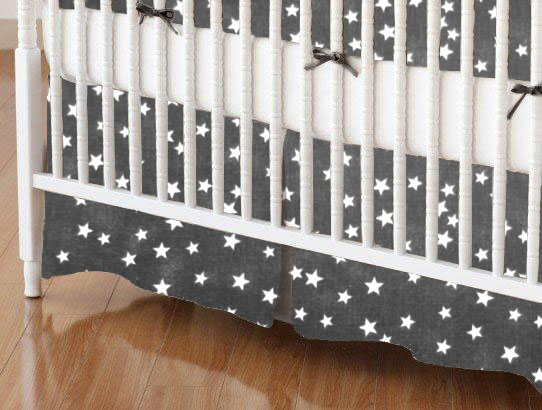 Mini Crib Skirt - Cloudy Stars Black