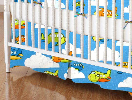 Crib Skirt - Airplanes Blue