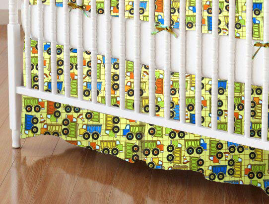 Mini Crib Skirt - Construction Trucks Yellow
