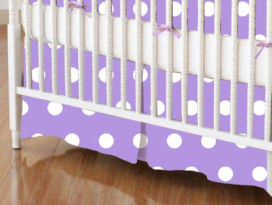 Mini Crib Skirt - Polka Dots Lavender