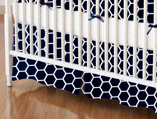 Crib Skirt - Navy Honeycomb