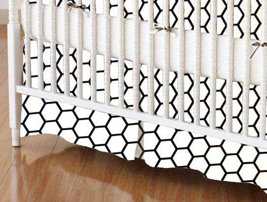 Crib Skirt - White Honeycomb